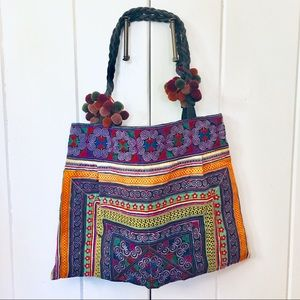 Large boho embroidered tote bag by the Hill Tribe